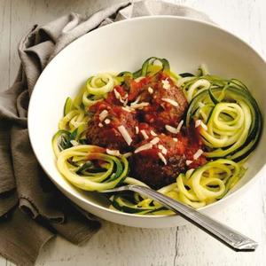 Zucchini Noodles with Spicy Meatballs Recipe