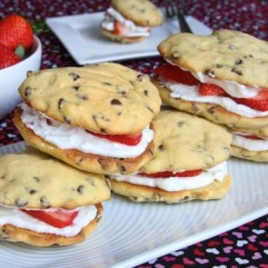 Chocolate Chip Whoopie Pies with Strawberry Whipped Cream Filling
