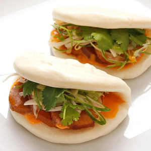 Steamed Buns with Simmered Daikon and Shiitake, Pickled Bean Sprouts, and Spicy Mayonnaise (Vegan) Recipe