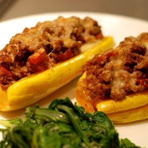 Delicata Squash Stuffed with Spiced Meat and Tomatoes (serves 2) and a side of Sauteed Chard recipes